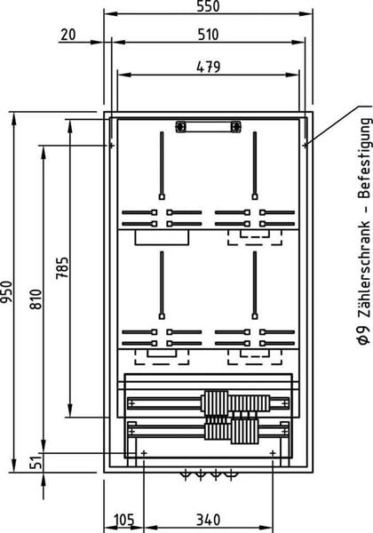 Deppe&Co. Zählermeßsatzschrank 950x550x22 E950/550 D1 AVACON